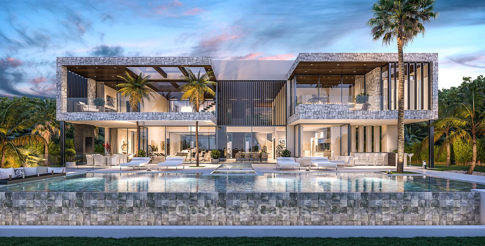 luxury modern villa for sale located on a golf course. Black Bedroom Furniture Sets. Home Design Ideas